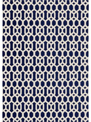 Ruggable Washable Rug - Hegaxon Fretwork Navy Blue (150cm x 210 cm)-0