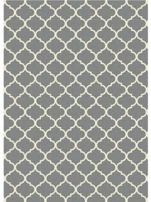 Ruggable Washable Rug - Moroccan Trellis Grey (150cm x 210 cm)-0