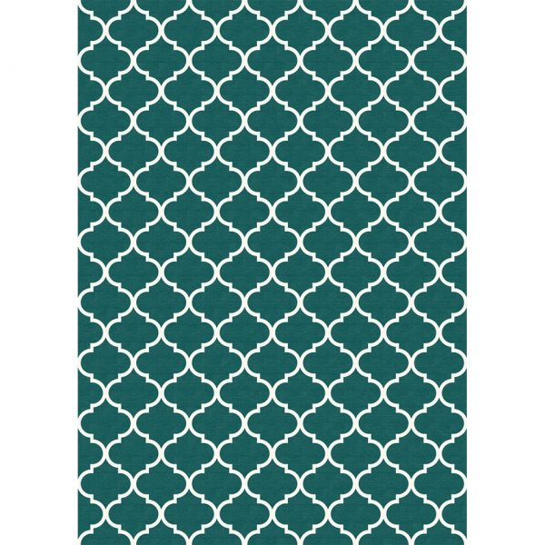 Ruggable Washable Rug - Moroccan Trellis Teal (150cm x 210 cm)-0