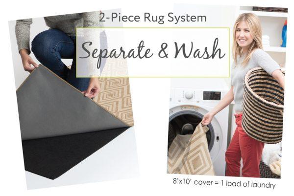 Ruggable Washable Rug - Solid Textured Cream (150cm x 210 cm)-595
