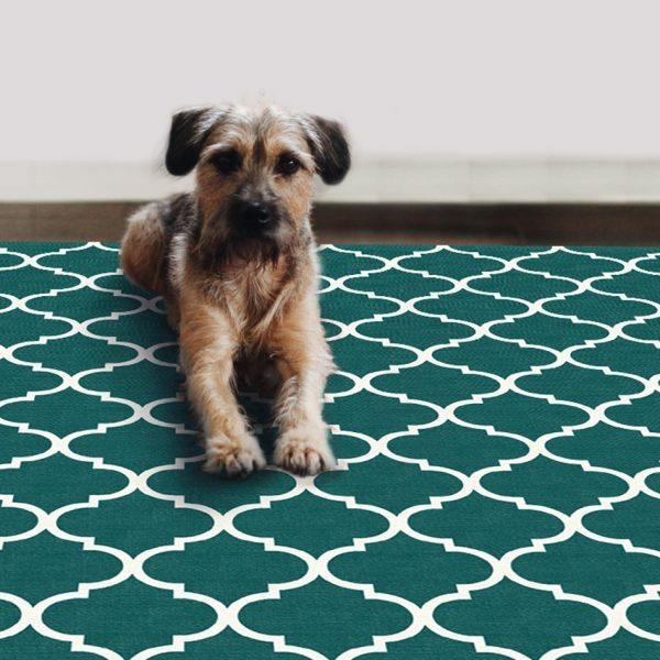 Ruggable Washable Rug - Moroccan Trellis Teal (67 cm x 210 cm)-848