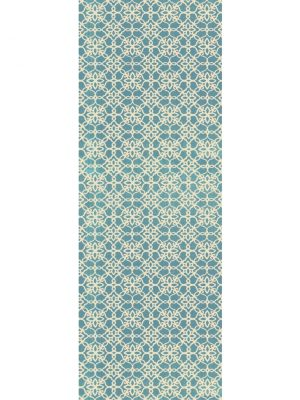 Ruggable Washable Rug - Floral Tiles Aqua Blue & White (67 cm x 210 cm)-0