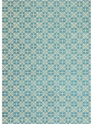 Ruggable Washable Rug - Floral Tiles Aqua Blue & White (150cm x 210 cm)-0