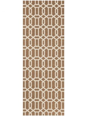 Ruggable Washable Rug - Modern Fretwork Rich Tan & White (67 cm x 210 cm)-0