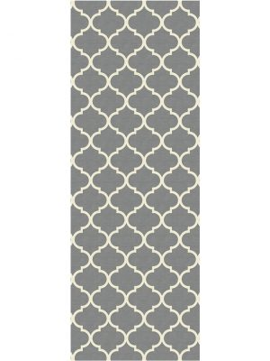 Ruggable Washable Rug - Moroccan Trellis Grey (67 cm x 210 cm)-0