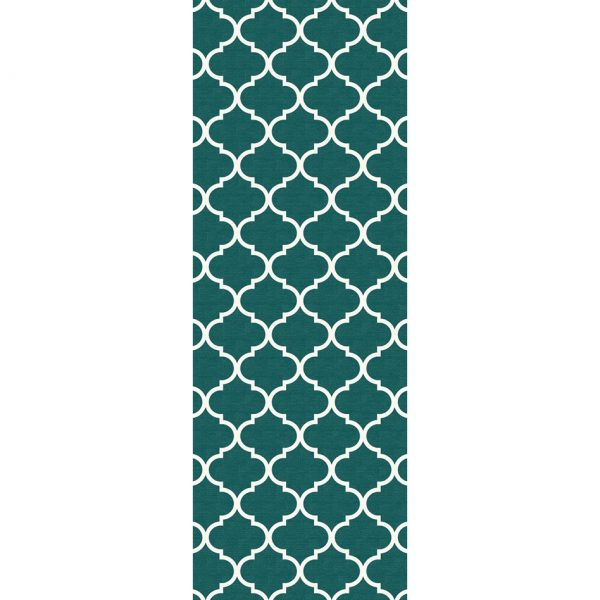 Ruggable Washable Rug - Moroccan Trellis Teal (67 cm x 210 cm)-0
