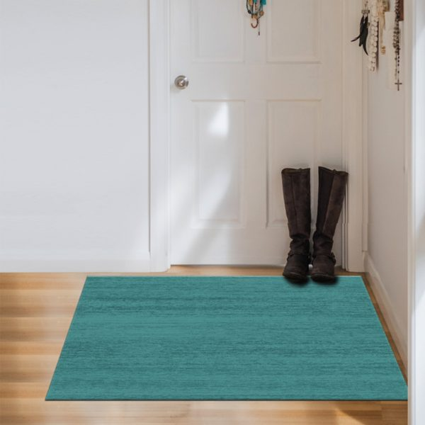Ruggable Washable Rug - Solid Textured Ocean Blue (90 cm x 150 cm)-954