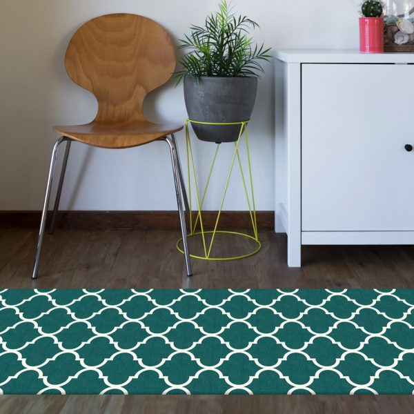 Ruggable Washable Rug - Moroccan Trellis Teal (67 cm x 210 cm)-855