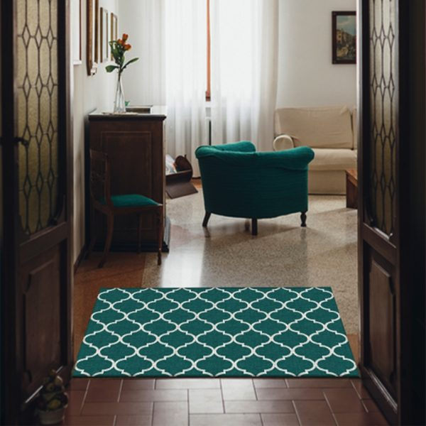 Ruggable Washable Rug - Moroccan Trellis Teal (90 cm x 150 cm)-1018