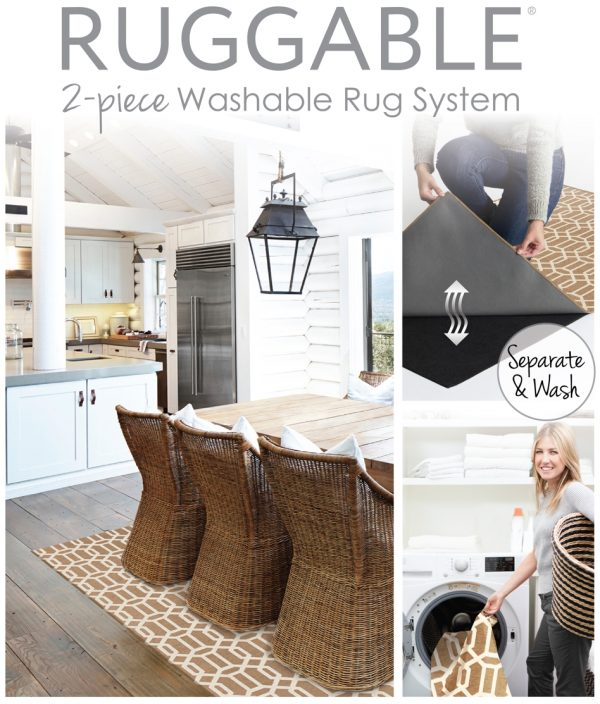 Ruggable Washable Rug - Modern Fretwork Rich Tan & White (150cm x 210 cm)-642