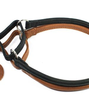 Leren half-slip halsband - Collar Soft - zwart of bruin-0