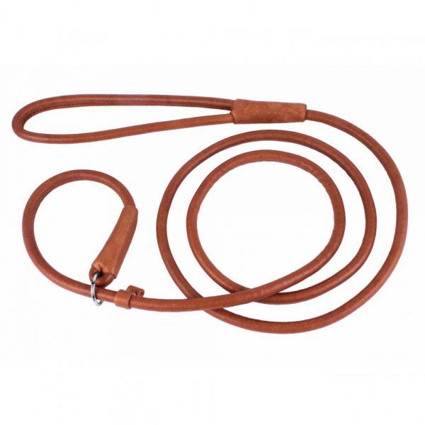 Rondgedraaide Jachtlijn / Sliplijn - COLLAR SOFT - bruin of zwart - 135cm lengte-0